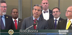 Assemblymember Bonta's press conference urgin signatures on the medical cannabis bills with Don Duncan at right
